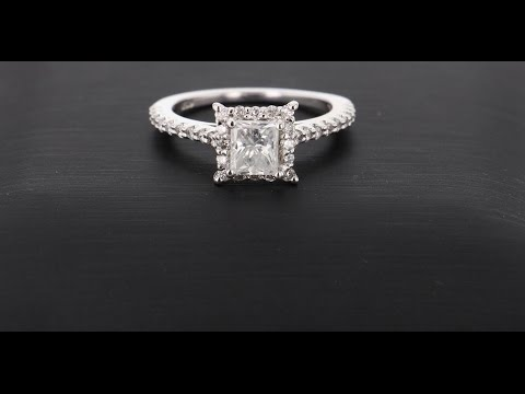 1.5 Carat F,SI3 Princess Cut Halo Pave Diamond Engagement Ring