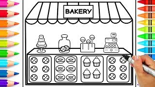 How to Draw a Bakery Step by Step for Kids | Bakery Coloring Page | Learn to Draw