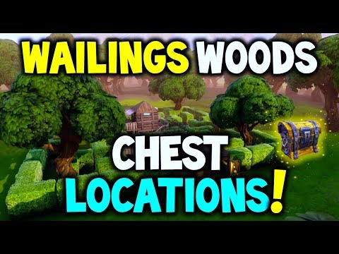 "Fortnite Wailing Woods CHEST LOCATIONS! ""Search Chests in Wailing Woods"" - Challenge (Battle Royale)"