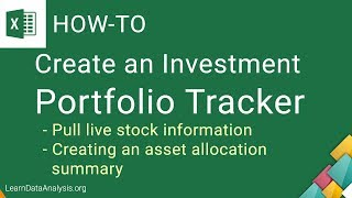 Create an Excel Investment Portfolio Tracker Template | Excel Tutorial