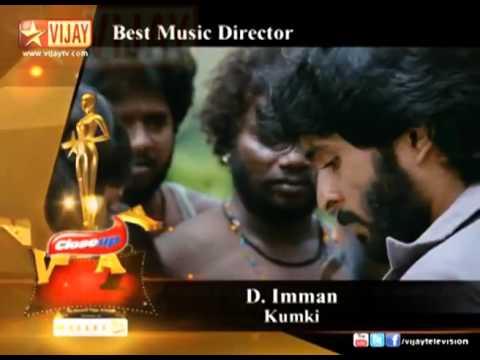 Music composer D.Imman won the best Music Director award in Vijay awards 2013.