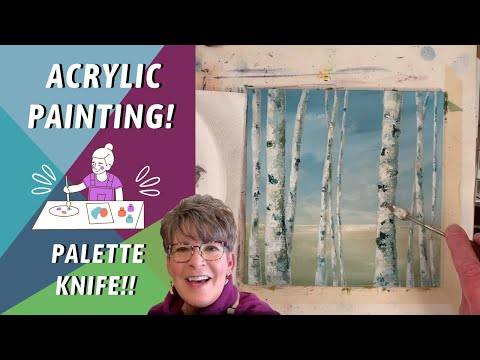 TREE LANDSCAPE! Simple For Beginners! PAINTING PROCESS! How to paint Birch trees – By: Annie Troe