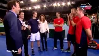 Andy Murray jokes on TV about Davis Cup team-mate's lover in Glasgow... as his girlfriend watches i