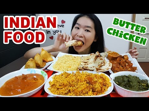 INDIAN FOOD FEAST! Butter Chicken, Naan, Biryani, Curry, Samosa & Palak Paneer • Mukbang Eating Show