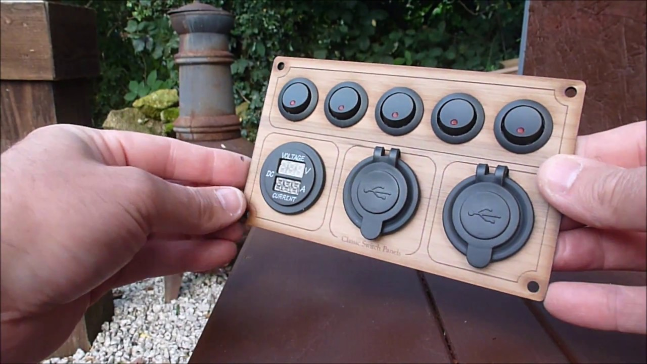 5 Way Rocker Switch Panel Led With Usb 12v And Volts Display Walnut Wiring Illuminated Round