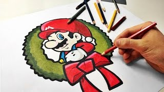 How To Draw Super Mario With Christmas Hat [Nintendo] Speed Drawing  超級馬里奧