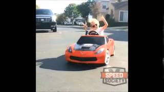 Young girl Corvette drift (badass)