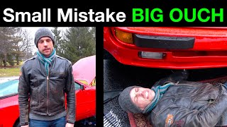 ACCIDENT on DIY Porsche 944 in MISERABLE WEATHER