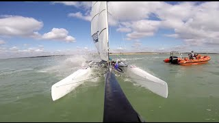 What Went Wrong? - Nacra 17 sailing fail - helm falls in on the water - with Hannah Diamond