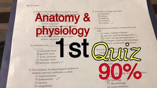 Anatomy and physiology 1st Quiz  9519