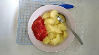 Овощной салат / Колбаса с жареной картошкой