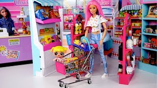 Barbie Doll LOL Family Supermarket Shopping - Is Baby Goldie Lost? Video