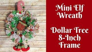 Dollar Tree Christmas Crafts: Mini Elf Wreath Using 8 Inch Dollar Tree Wreath Form