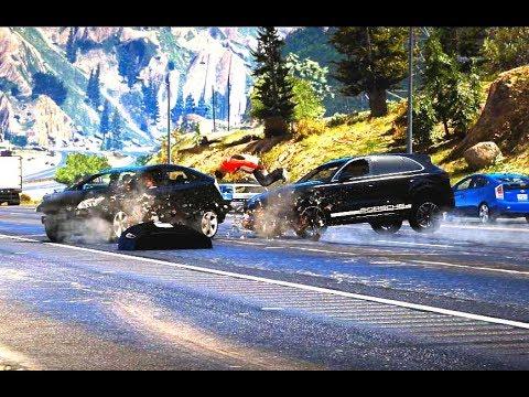 GTA 5 CRASH TEST 2019 PORSCHE CAYENNE VS TOYOTA PRIUS OVER 200MPH