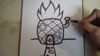 COMO DIBUJAR LA CASA DE BOB ESPONJA, PASO APASO /how to draw Spongebob