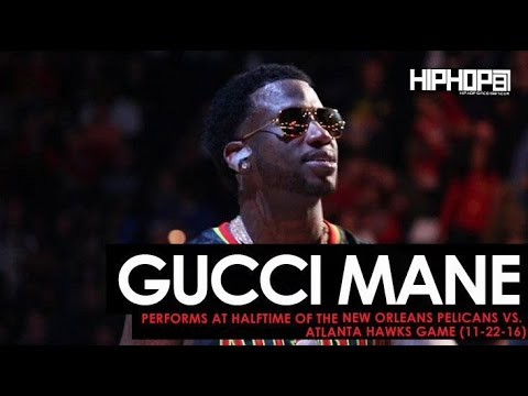"Gucci Mane Performs ""Black Beatles"", ""First Day Out Da Feds"" & More at the Pelicans vs. Hawks Game"