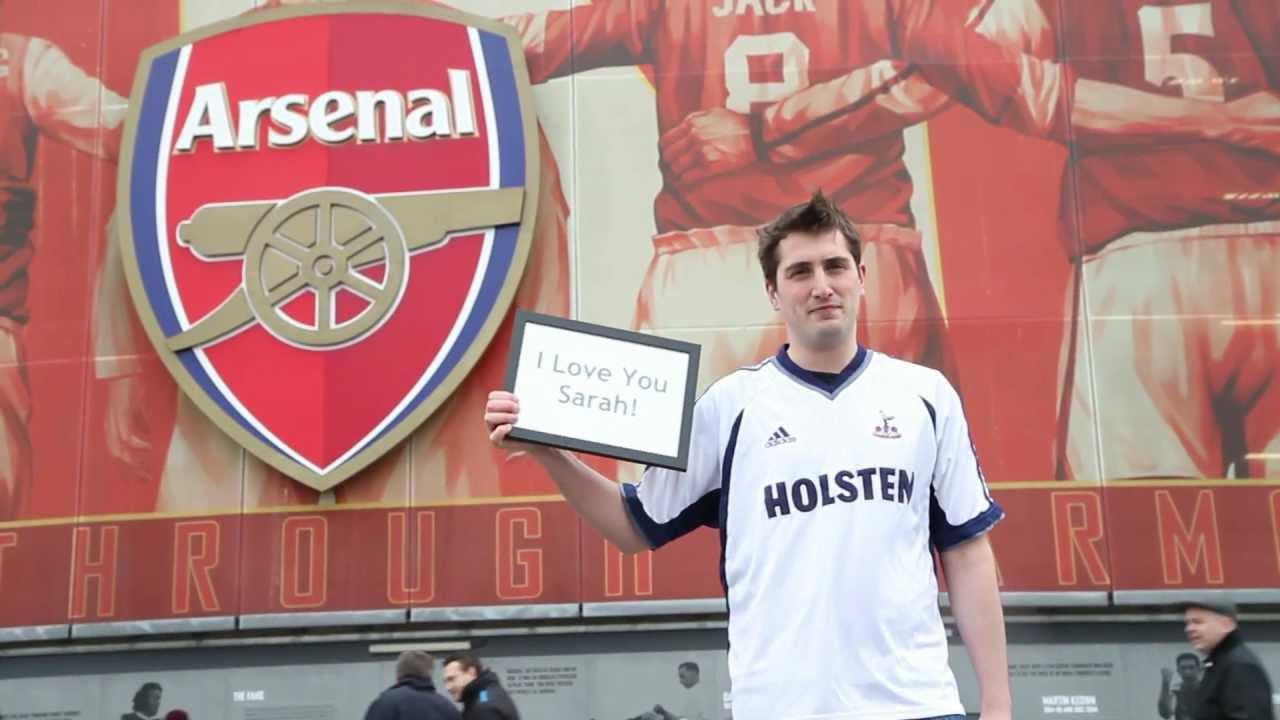 5f708083b Arsenal fan wears Tottenham shirt outside Emirates to apologise to  girlfriend