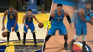 KEVIN DURANT & STEPHEN CURRY VS RUSSELL WESTBROOK & PAUL GEORGE! NBA 2K17 GAMEPLAY!