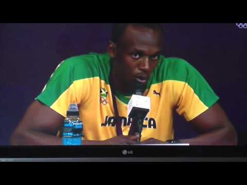Usain bolt responding to Carl Lewis.