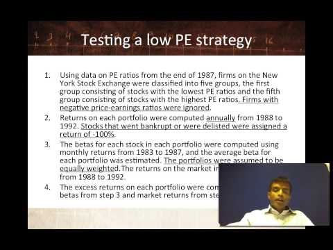 Session 8: Market Efficiency - Testing Market Beating Schemes