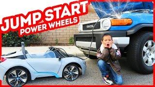 kid jump start dad s car power wheels bmw i8 supercar toys
