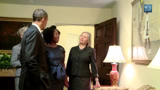Ruby Bridges visits with the President and her portrait