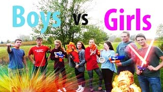 Nerf War Boys vs Girls