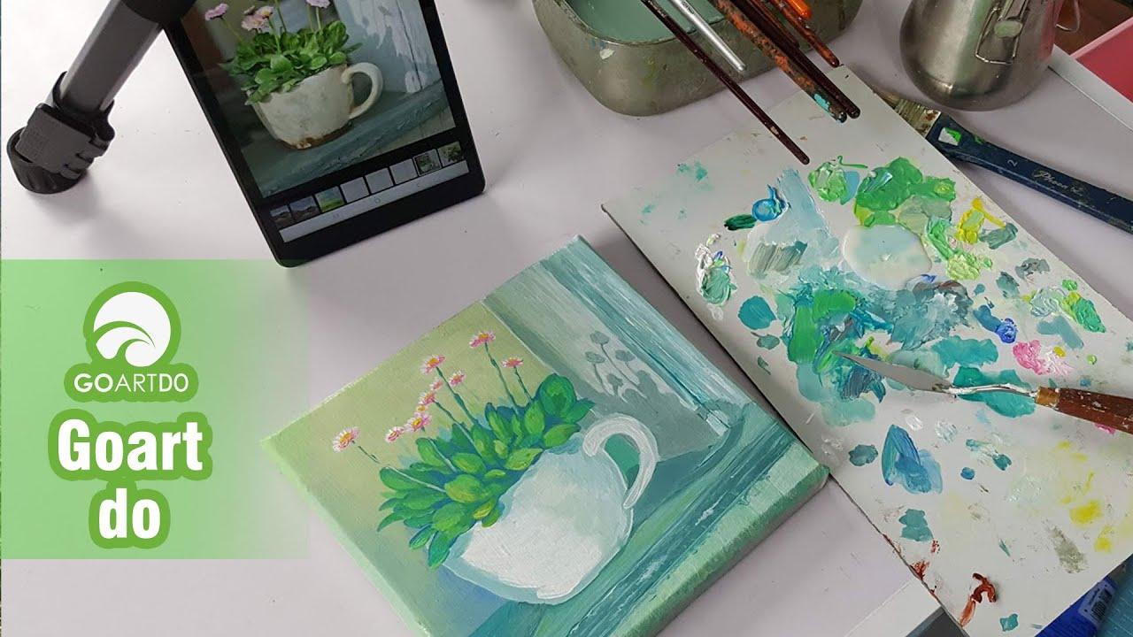 vẽ cốc hoa nhỏ cực xinh mà đơn giản bằng màu acrylic