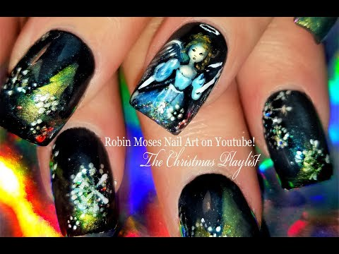 Old Fashioned Christmas Angel Nails with White Snowflakes Nail Art Design