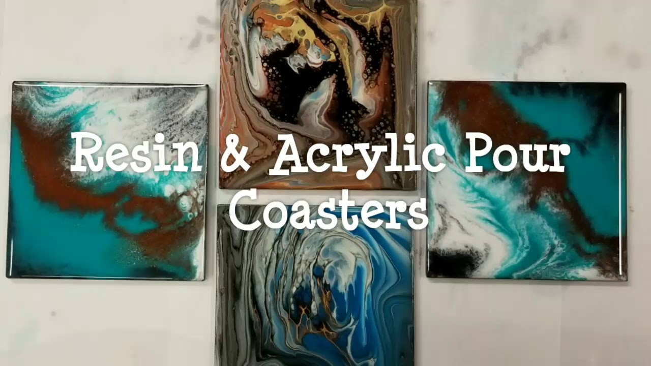 DIY Painted Coasters | Acrylic Pouring and Resin