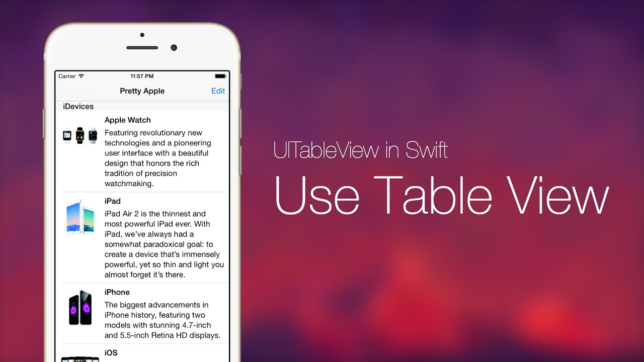 UITableView with Swift Series Pt 1: Use Table View