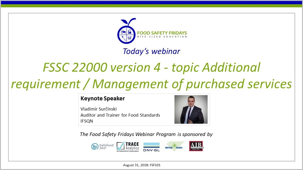 FSSC 22000 version 4 - Management of Purchased Services