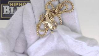 Clean Polished Gold Cross and Chain Set | Gold Stainless Steel Jewelry