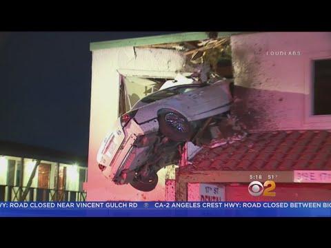 Bus Dash Cam Video Captures Car Flying Into Santa Ana Building