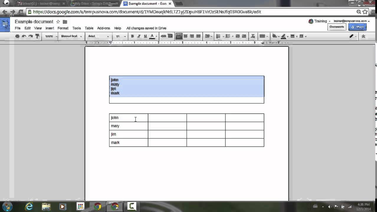 Table cell merging in Google Docs