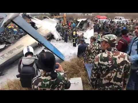 bangladesh plain crushed at nepal Airports.