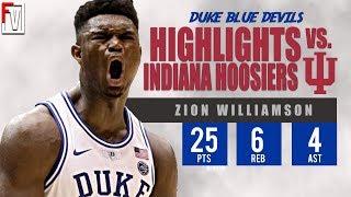 Zion Williamson Duke vs Indiana - Highlights | 11.27.18 | 25 Pts, 6 Rebs, 4 Assist!