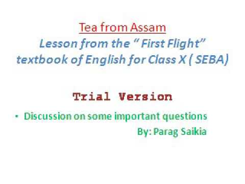Question Answers of Tea from Assam, Class X, SEBA