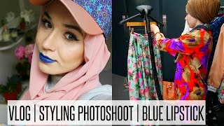 RAMADAN VLOG #2 STYLING PHOTOSHOOT, BLUE LIPSTICK | NABIILABEE