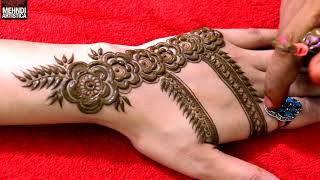 Dubai Mehndi Design For Hand | Easy way to create Dubai style Rose Pattern Mehendi