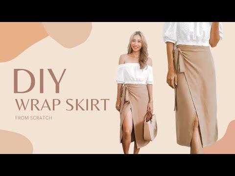 DIY Wrap skirt with leg slit from scratch - Autumn wardrobe - YouTube
