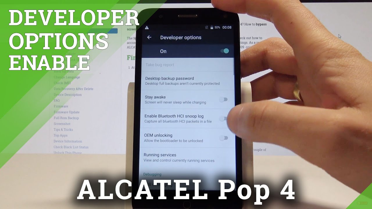 What are the Developer Options in ALCATEL Pop 4 - HardReset info