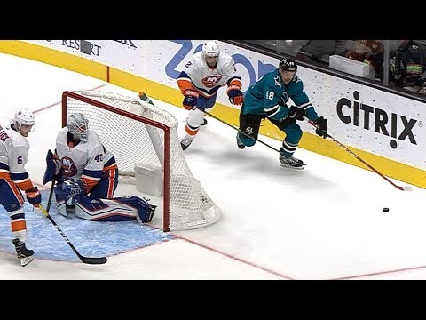 Hertl dishes a pass to himself, sets a goal up