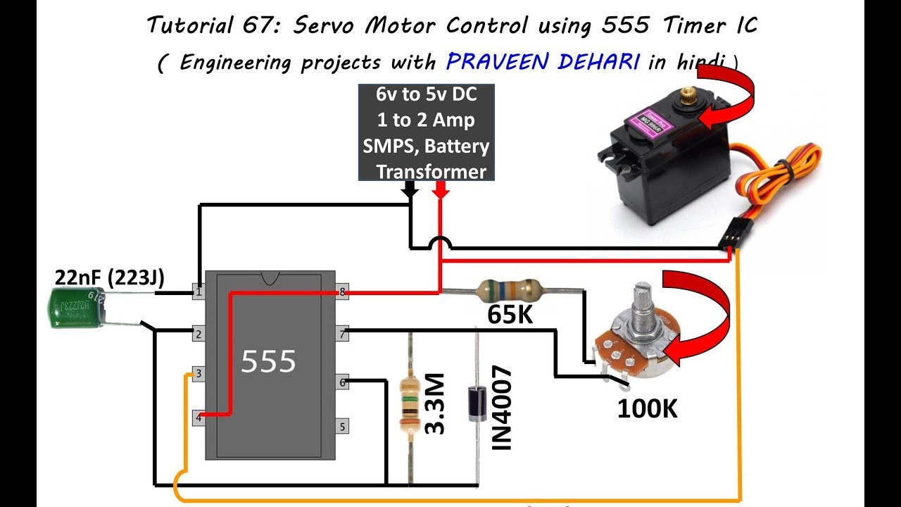 servo motor control using 555 timer ic tutorial 67 [ 1280 x 720 Pixel ]