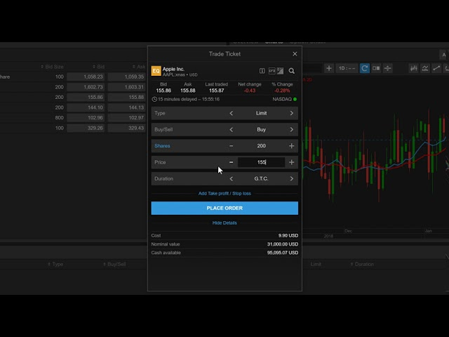 Buying a Stock from Watchlist in ELANA Global Trader