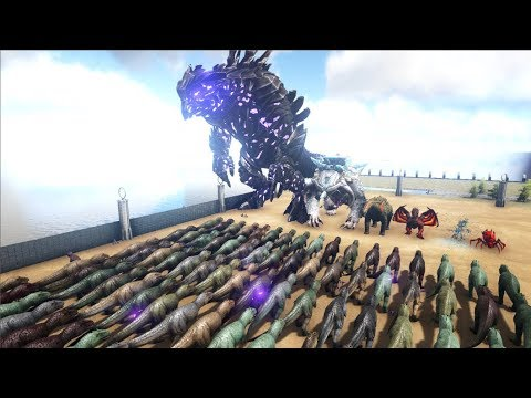 100 Giganotosaurs VS ARK Bosses | Cantex