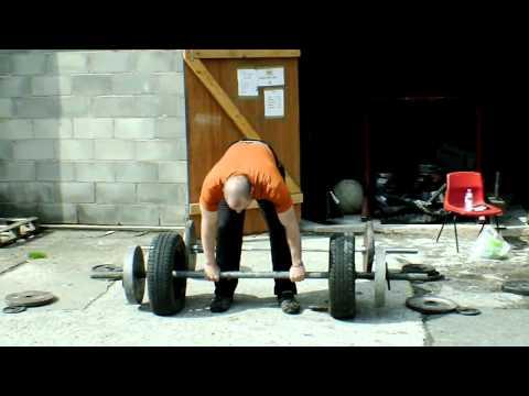 Paul Savage deadlift axle 155kg overhand grip x 15