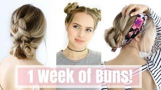 1 Week of Bun Hairstyles - Hair Tutorial!
