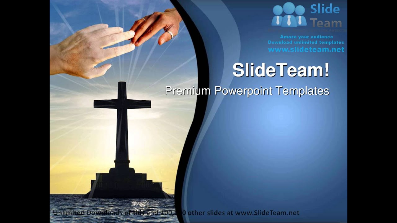 tropical sunset with cross religion powerpoint templates themes and