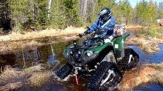 Yamaha ATV Grizzly 700 Testing The Tracks On Rock Snow Sand and Mud - May 5, 2013